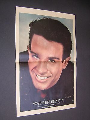 Warren Beatty. 1962 Original Centrefold Poster.  Issued With Boyfriend Magazine