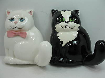 Pair of Wall Pocket Ceramic Cat Caddy Towel Holders Japan / Stampinsisters