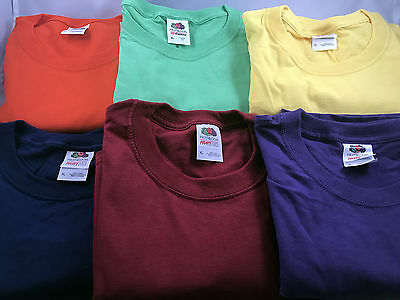 Lot of 6 Fruit of the Loom Tees - size: X-LARGE Assorted Colors NEW *02-030717