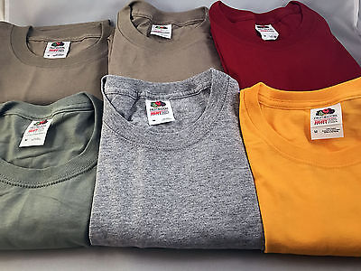 Lot of 6 Fruit of the Loom Tees - size: MEDIUM Assorted Colors NEW *03-030717