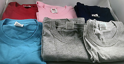 Lot of 6 Fruit of the Loom Tees - size: LARGE Red/Blues/Pink/Grey NEW *14-030717
