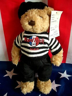 HRC Hard Rock Cafe Paris Beret Teddy Bear Bär 10`` Flag Logo Herrington 2003  LE