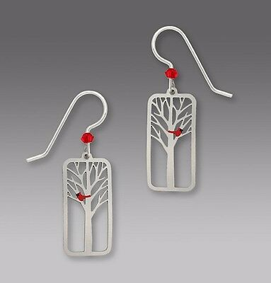 Sienna Sky RED CARDINAL In TREE Earrings STERLING Silver Dangle 1614 + Gift Box