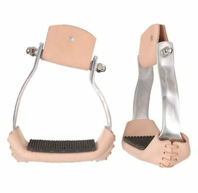 Tough-1 Stirrups Aluminum Angled Lightweight Leather Wrapped 57-9993