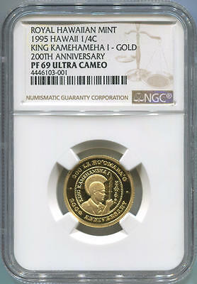 1995 Royal Hawaiian Mint Gold 1/4oz Crown. 200 Anniversary. NGC PF69 Ultra Cameo