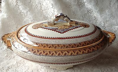 """Antique 1800s Aesthetic Brownfield Sons Wisconsin Ivory Footed Tureen & Lid 15"""""""