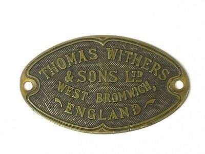 22147 Old Brass Sign Safe Makers Plate Advert Metal plaque Withers West Bromwich