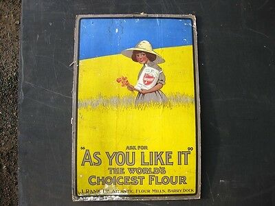 22102 Old Card Showcard Sign Flour Cardiff Wales Welsh nto Enamel Vintage Baker