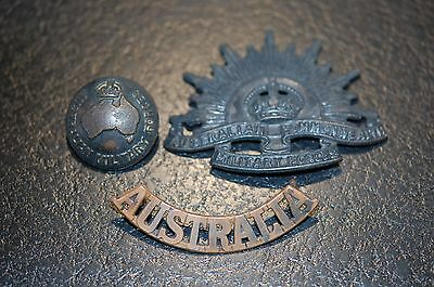 AUSTRALIAN Military Force cap badge, button and shoulder title