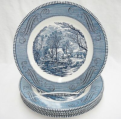 Currier & Ives Royal China Lot of 5 Dinner Plates The Old Grist Mill Blue Vtg