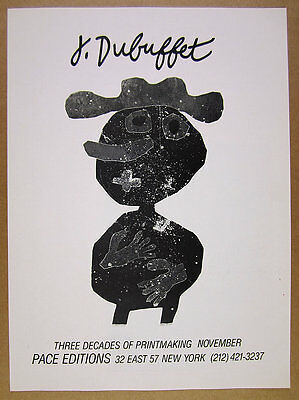 1980 Jean Dubuffet printmaking exhibition Pace new york vintage print Ad