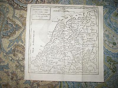 Early Antique 1750 Seven United Provinces Netherlands Copperplate Vaugondy Map