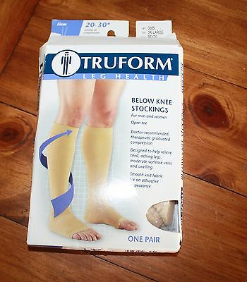 Truform Open Toe Compression Below Knee 20-30 mmHg Size 3XL Beige