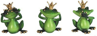 See, Speak, Hear No Evil King Frog Set of 3