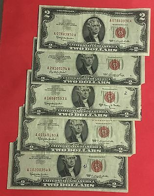 1953-1963 $2 RED US Deuces SEt of 5 X970 RED DEUCES! Old US Currency!