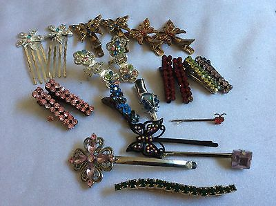 lot of 21 multi color rhinestones hair pins picks accessories butterfly ladybug