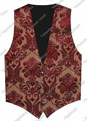 SteamPunk Mens Gold Burgundy Gothic Western Pirate Brocade Vest Waistcoat