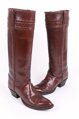 Vtg Lucchese Knee High Leather Western Cowboy Boots Usa Womens 8 B
