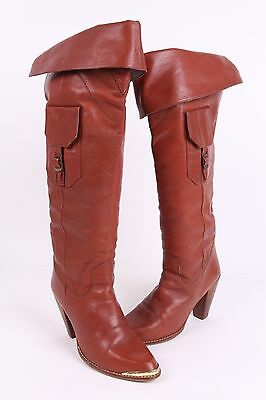 Vtg 70S Leather Knee High Heel Boots Womens Size 9 B