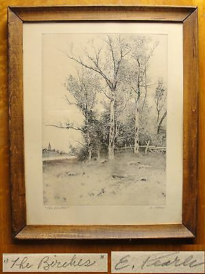 "Vtg Hand Signed Etching ""The Birches"" by E. Pearl Framed"