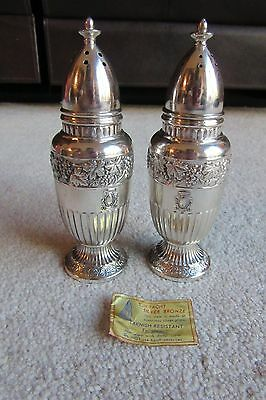 Vintage Pair of Silver Plate Made in Japan Salt and Pepper Shakers Grapevines