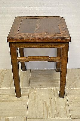 Asian Chinese Antique Wooden Square Sitting Stool Side End Table Stand 73-05