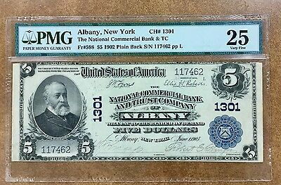 {BJSTAMPS} 1902 Albany NY $5 National COMMERCIAL Bank #1301 VF-25 PMG