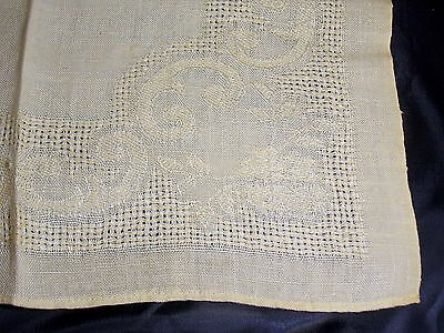 "12 Golden Yellow Cotton  Dinner Napkins Open Weaving 14"" Scroll Floral"