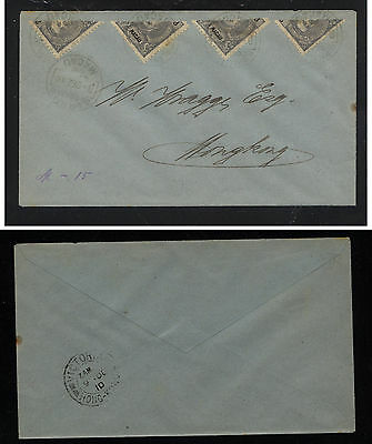 Macau  4  biscet  stamps on cover 1910 to  Hong Kong            KL1129