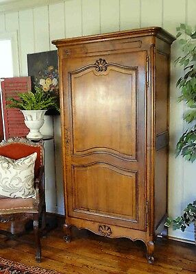 Antique French Country Armoire Tall Narrow Walnut Wardrobe Shell Carving Key Old