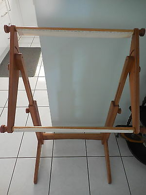 Tapestry Wooden Working Frame On Stand Fully Adjustable 105 Cm High