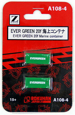 Rokuhan A108-4 Z Scale 20f Marine Container EVER GREEN 2 pcs