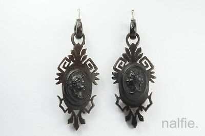ANTIQUE VICTORIAN PERIOD PRESSED HORN  BACCHANTE CAMEO GOTHIC EARRINGS c1870