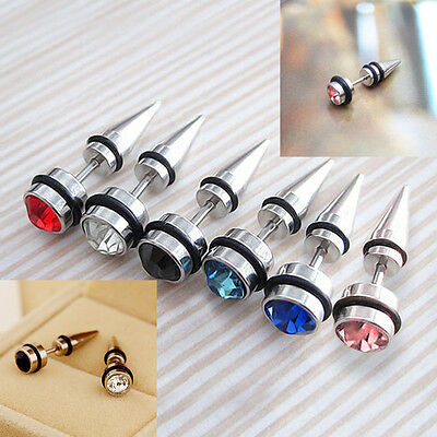 2Pcs Unisex Fashion Crystal Stainless Steel Ear Stud Spike Gothic Earrings