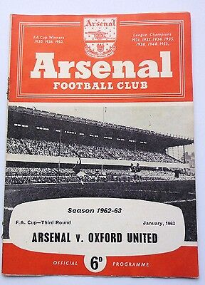 ARSENAL v. OXFORD UNITED F.A.CUP 1963 HIGHBURY