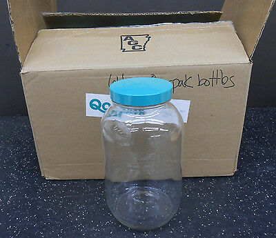 Lot Of 6 Vwr (Qorpak) 16196-262 Clear Standard Wide Mouth 64 Oz Bottle With Lid