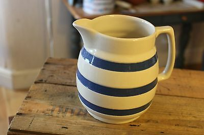 Vintage Tall & Large Chef Ware Blue & White Banded Kitchen / Milk Jug – Great! –
