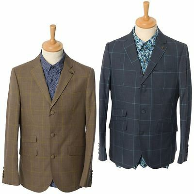 Gabicci Vintage Mens Checked Tailored Jacket Button Up Smart Blazer Sizes 38-48