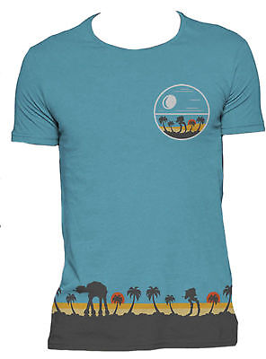 STAR WARS ROGUE ONE Scarif AT-AT Blue T-SHIRT ALL OVER PRINT OFFICIAL MERCH