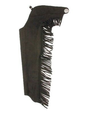 Tough-1 Western Chaps Youth Synthetic Equitation Fringe Black 63-316