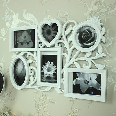 White oval mirror multi photo frame shabby vintage chic photograph display gift