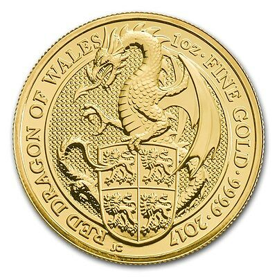 GRANDE BRETAGNE 100 Livres Or 1 Once Dragon Rouge 2017 - 1 Oz Gold Queen's Beast