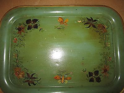Vintage Hand Painted Green rectangular Flowers Metal Toleware tin dish