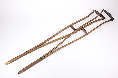 2 Antique Split Wood Medical Crutches Leather Arm Rests & Brass Hardware 1800s
