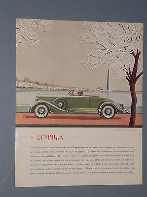 1935 Lincoln Lebaron Convertible Roadster Ad Washington Monument In Background