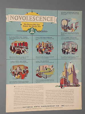 4 1935 National Hotel Management Co. Ads Premier American Hotels Novolescence