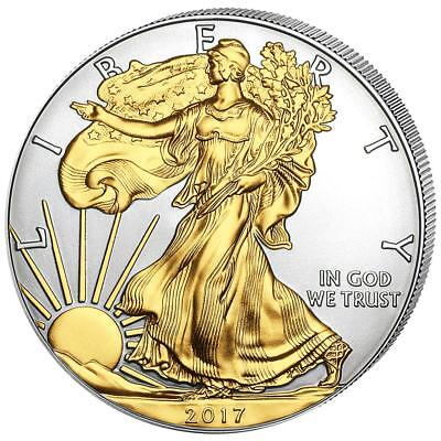 USA - 1 Dollar 2017 - Silver Eagle - Walking Liberty vergoldet- 1 Oz Silber Stgl