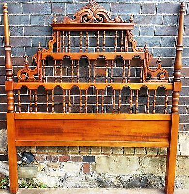 Antique Carved Wood Spanish Pagoda Spindle Headboard - King Sized (US - Queen)