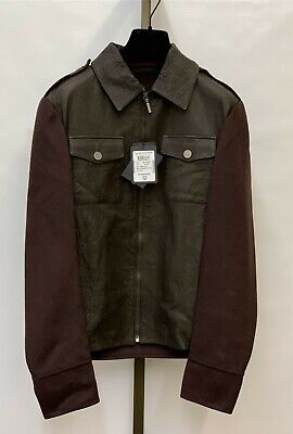New w/ Tags MCM Munchen Men's 100% Black Leather and Maroon 100% Cashmere Jacket