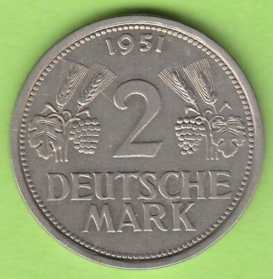 nsw-leipzig BRD 2 Deutsche Mark 1951 J in vz, hübsch